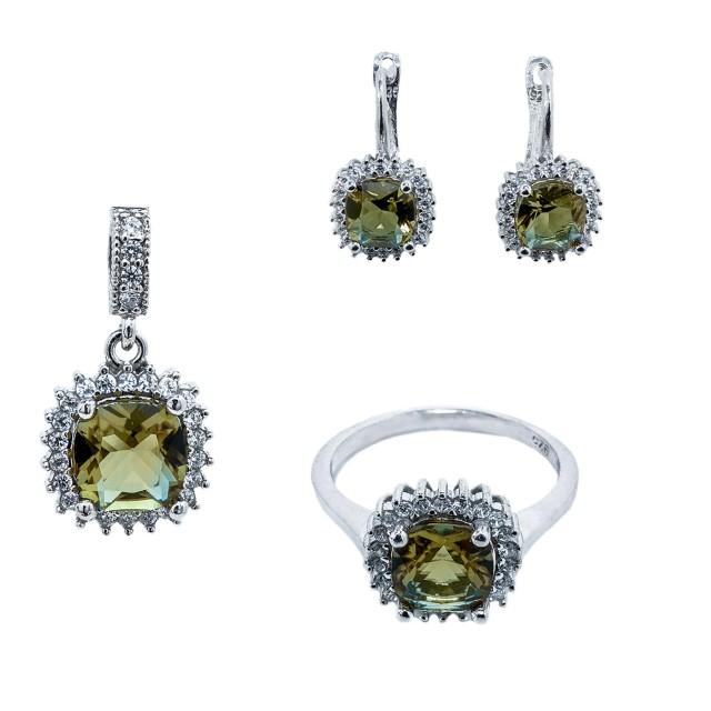 Стилен сребърен комплект от обеци, медальон и пръстен
