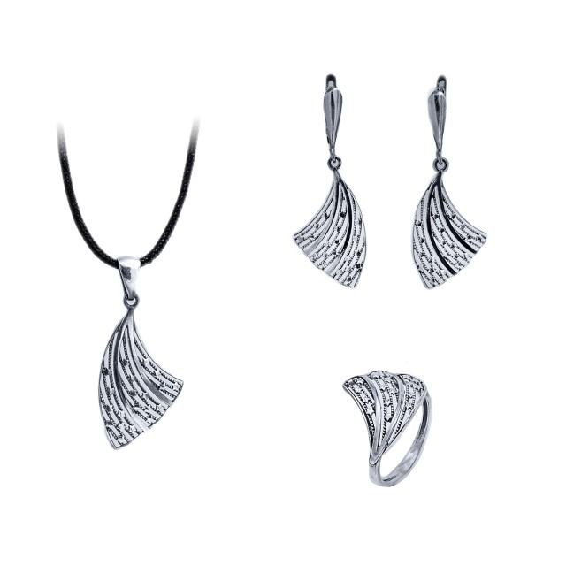 Сребърен комплект от обеци, медальон и пръстен ДРАКОНОВО КРИЛО