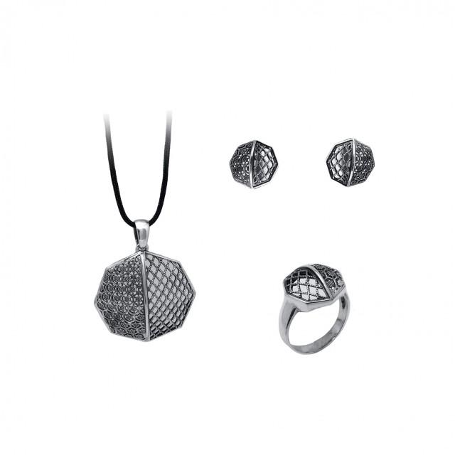 Сребърен комплект от обеци, медальон и пръстен ПЧЕЛНА ПИТА