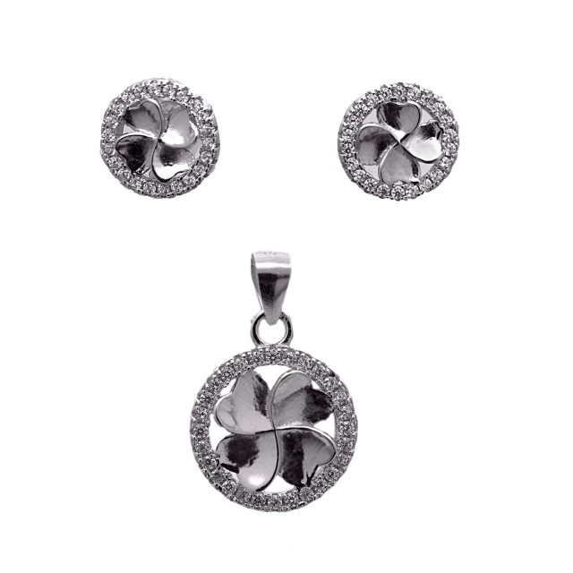 Нежен сребърен сет от обеци и медальон ДЕТЕЛИНА