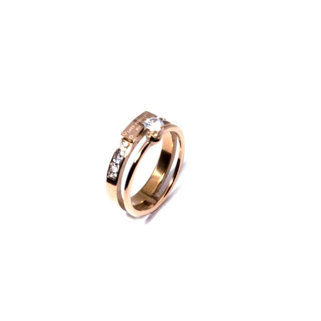 Елегантен двоен стоманен пръстен ROSE GOLD