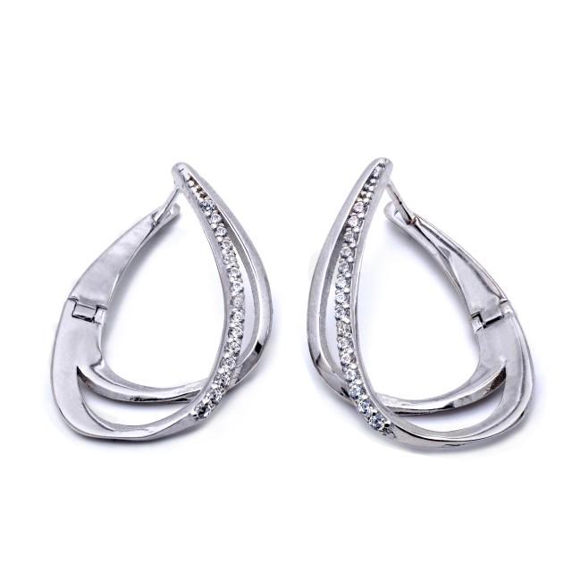 Елегантни сребърни обеци ДВОЙНА КАПКА