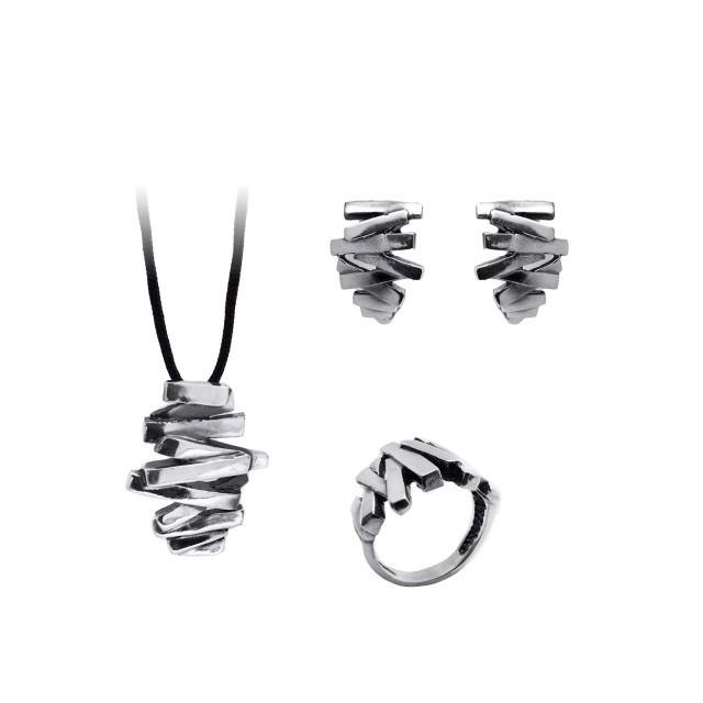 Нестандартен комплект от обеци, медальон и пръстен ЗИГ - ЗАГ