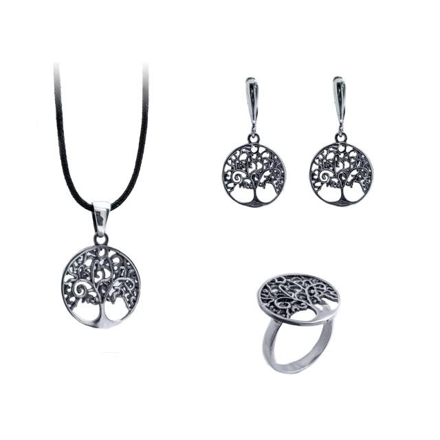 Сребърен комплект от обеци, медальон и пръстен ДЪРВОТО НА ЖИВОТА