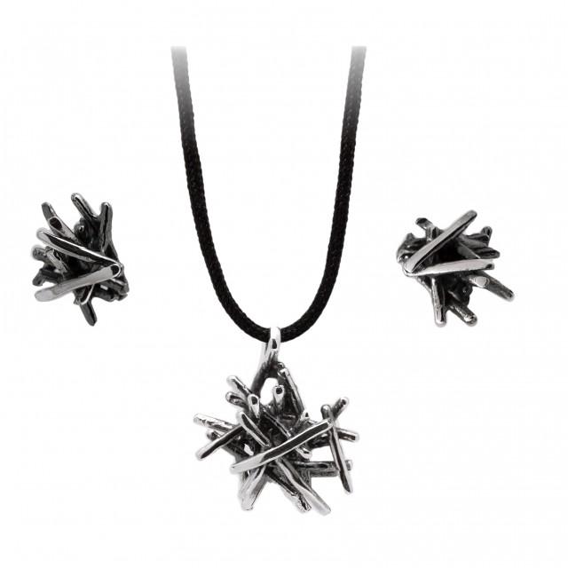 Ексравагантен сребърен комплект от обеци и медальон МОРСКИ ТАРАЛЕЖ