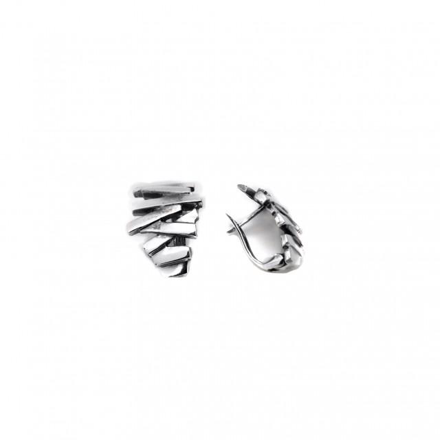Нестандартни сребърни обеци ЗИГ - ЗАГ