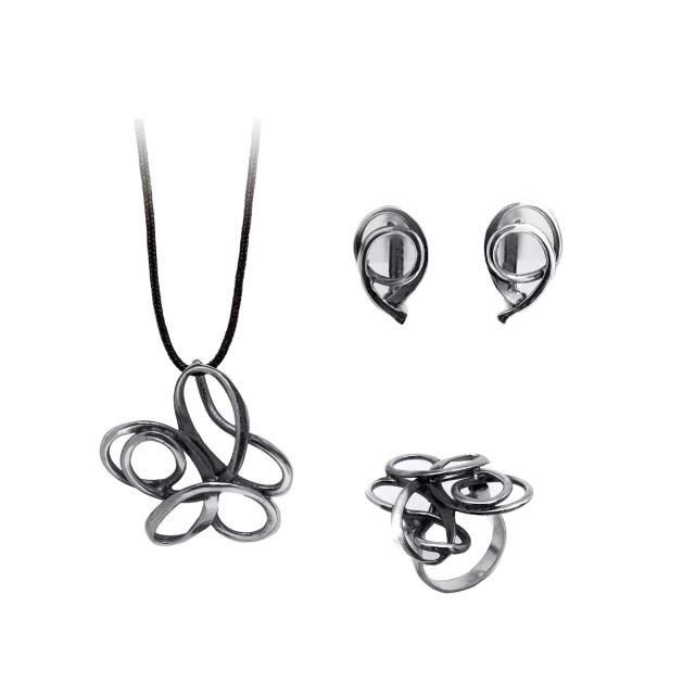 Сребърен комплект от обеци, медальон и пръстен ЕКСТРЕМНО