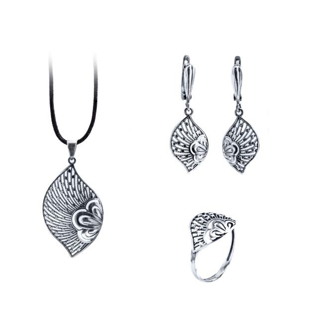 Сребърен комплект от обеци, медальон и пръстен ЗВЕЗДОПАД