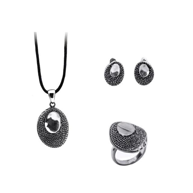 Сребърен комплект от обеци, медальон и пръстен ОГЛЕДАЛО